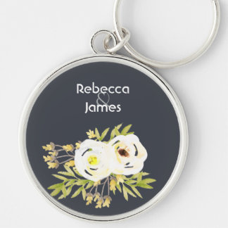 COOL WHITE & YELLOW WATERCOLOR FLORAL Personalised Keychain