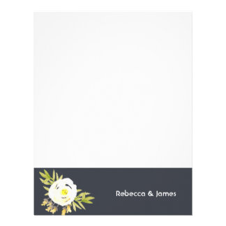 COOL WHITE & YELLOW WATERCOLOR FLORAL Personalised Letterhead