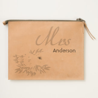 COOL WHITE & YELLOW WATERCOLOR FLORAL Personalised Travel Pouch