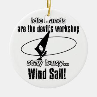 Cool wind sail  designs ceramic ornament
