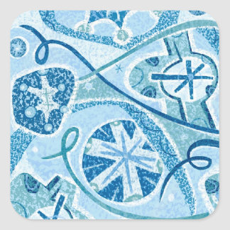 Cool Winter Decorative Snow Square Sticker