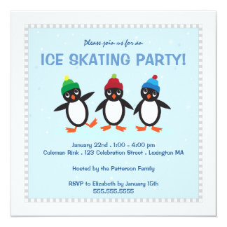 Cool Winter Penguin Ice Skating Party Invitation