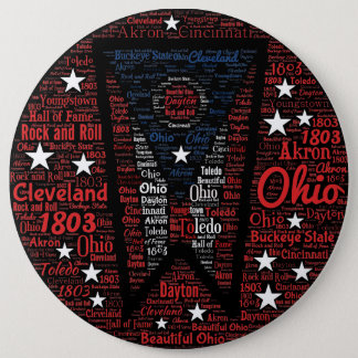 Cool Word Art Ohio State 6 Inch Round Button