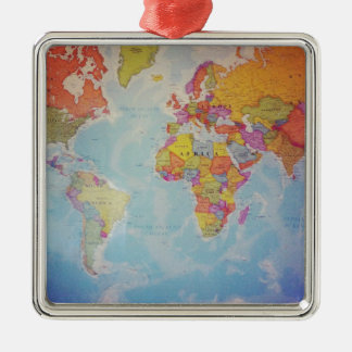 Cool World Map Metal Ornament