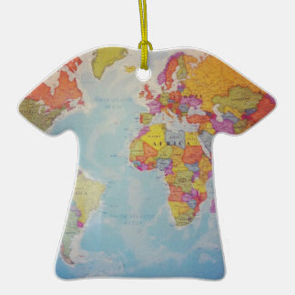 Cool World Map Double-Sided T-Shirt Ceramic Christmas Ornament