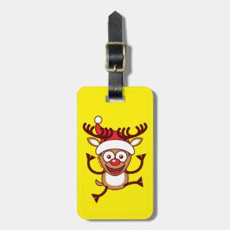 Cool Xmas Reindeer Wearing Santa Hat Bag Tags