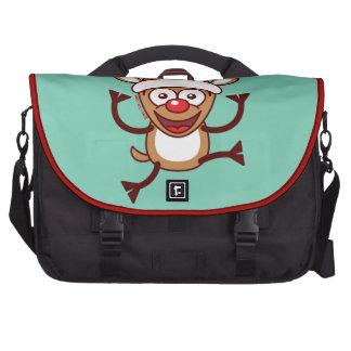 Cool Xmas Reindeer Wearing Santa Hat Laptop Computer Bag