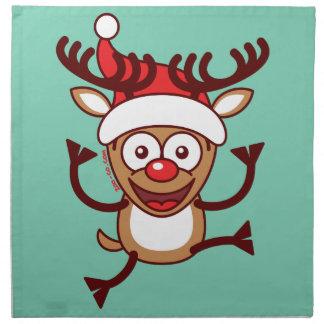 Cool Xmas Reindeer Wearing Santa Hat Printed Napkins