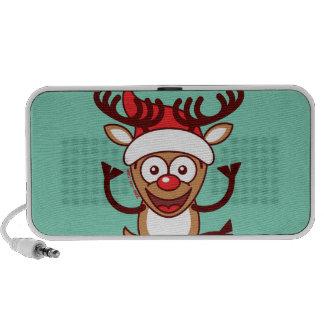 Cool Xmas Reindeer Wearing Santa Hat Portable Speakers