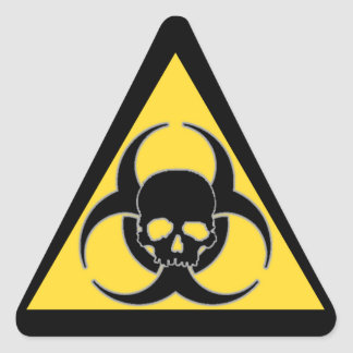 Cool Yellow and Black Biohazard symbol and Skull Triangle Sticker