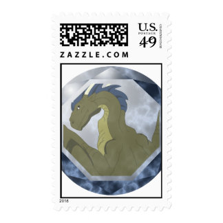 Cool Yellow And Blue Dragon Gem Postage