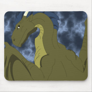 Cool Yellow And Blue Dragon Mouse Pad