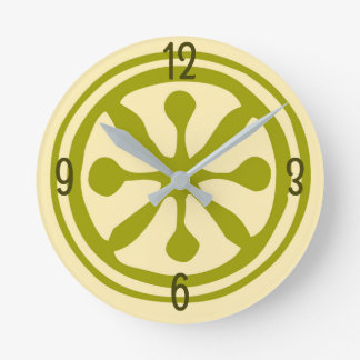 Cool Yellow and Green Abstract Citrus Slice Round Clock