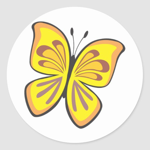 Cool Yellow Butterfly Cartoon Classic Round Sticker  Zazzle