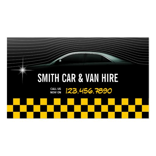 Cool Yellow Checkered Car & Van Hire Business Card
