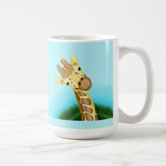 Cool Yellow Giraffe On Blue Background Mug