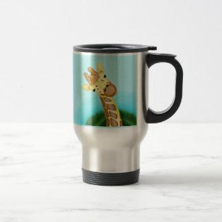 Cool Yellow Giraffe On Blue Background Mugs