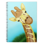 Cool Yellow Giraffe On Blue Background Spiral Note Books