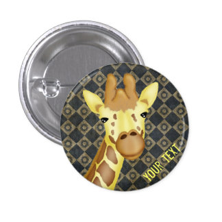 Cool Yellow Giraffe On Vintage Background Button