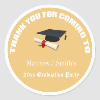Cool yellow graduates thank you stickers. classic round sticker