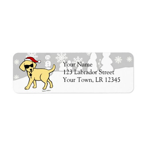 Cool Yellow Lab Cartoon Christmas Return Address Labels