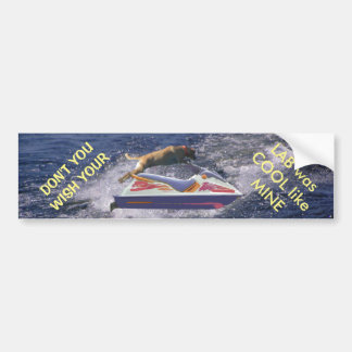 Cool Yellow Labrador Retriever Jumping Boat Waves Bumper Sticker