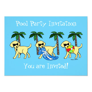 Cool Yellow Labradors Pool Party Card