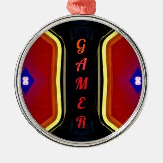 Cool Yellow Red 'Gamer' Artistic Design Metal Ornament
