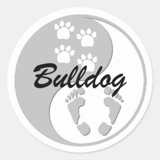 cool yin yang bulldog classic round sticker