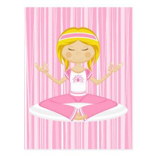 Cool Yoga Girl Silhouette Postcard