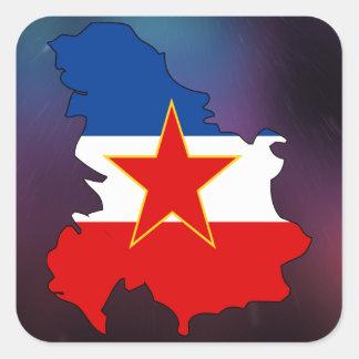 Cool Yugoslavia Flag Map Square Sticker