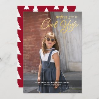 Cool Yule Faux Gold Script with Your Photo Holiday