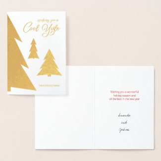 Cool Yule Modern Script Trees Holiday Gold Foil Card
