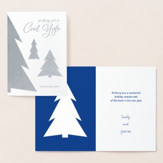 Cool Yule Modern Trees Holiday Blue & Silver Real Foil Card