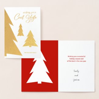 Cool Yule Modern Trees Holiday Red and Gold Real Foil Card
