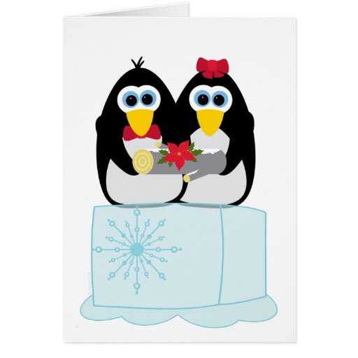 Cool Yule Penguin Pair Christmas Greeting Card