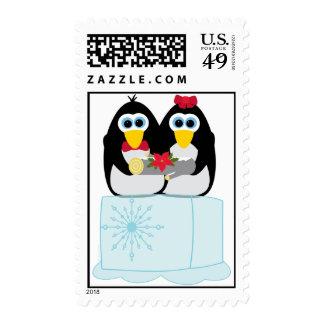 Cool Yule Penguin Pair Christmas Postage Stamp