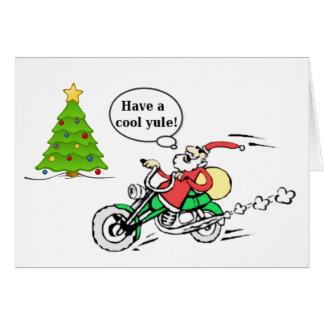 Cool Yule Santa Motorcycle Personalized Christmas Card