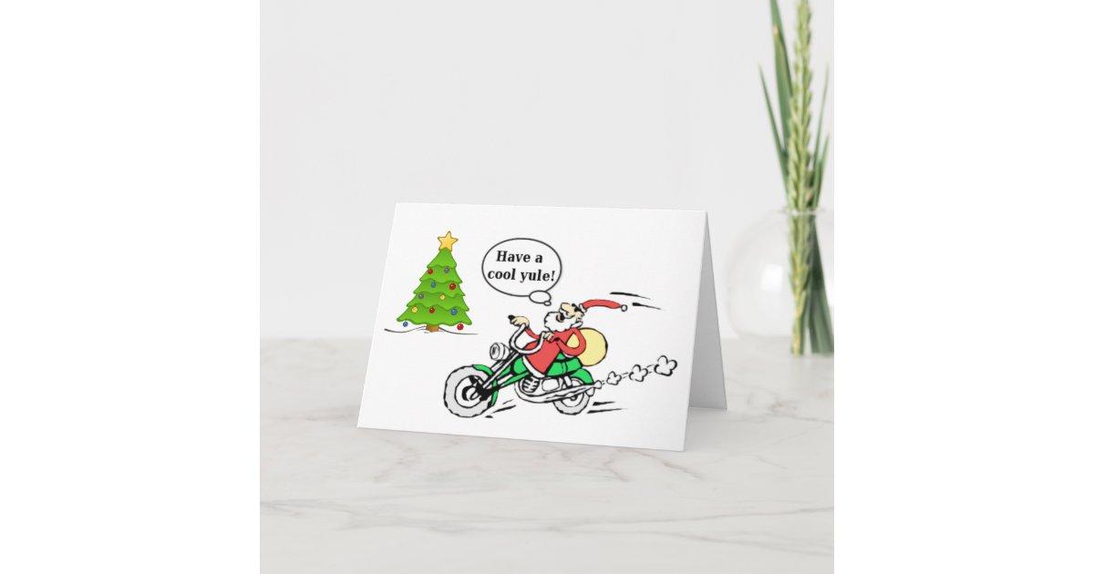 Cool Yule Santa Motorcycle Personalized Christmas Holiday Card ...