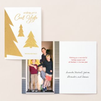 Cool Yule Script Trees Your Photo Holiday Gold Foil Card