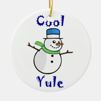 Cool Yule Snowman in Blue Top Hat Ceramic Ornament