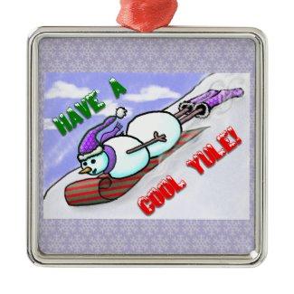 Cool Yule Snowman Premium Square Ornament ornament