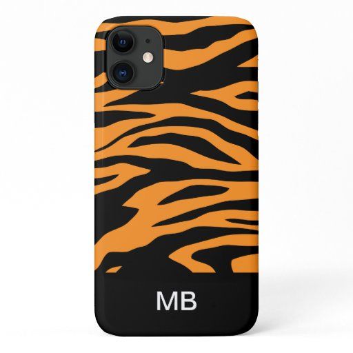 Cool Zebra Animal Stripes Monogram iPhone 11 Case