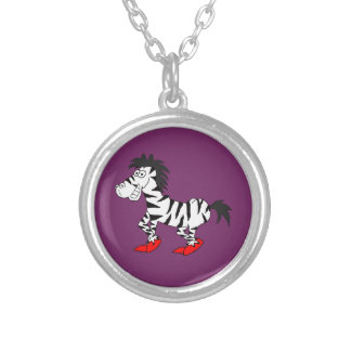 Cool zebra design matching jewelry set round pendant necklace