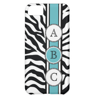 Cool Zebra Print Black White Blue Cover For iPhone 5C
