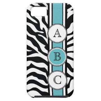 Cool Zebra Print Black White Blue iPhone 5 Cases