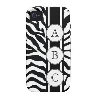 Cool Zebra Print Personalized with 3 Initials iPhone 4 Cover