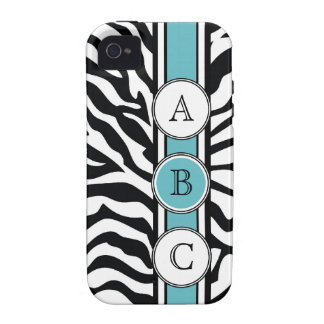 Cool  Zebra Print with Bright Blue Case-Mate iPhone 4 Covers