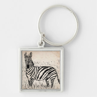 Cool Zebra Scribble on Old Paper Keychain