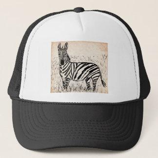 Cool Zebra Scribble on Old Paper Trucker Hat